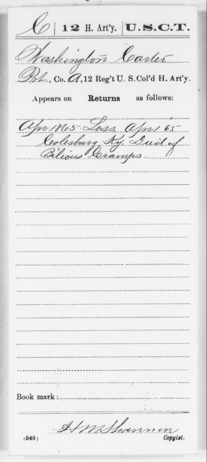 Carter, Washington - Age [Blank], Year: 1865 - 12th US Colored Heavy Artillery, Wo-Y AND Misc Cards, B-H - United States Colored Troops: Artillery Organizations