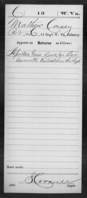 Casey, Mathew - Age [Blank], Year: 1864 - Miscellaneous Card Abstracts of Records - West Virginia
