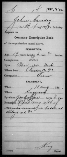 Casiday, Jehue - Age 19, Year: 1864 - Miscellaneous Card Abstracts of Records - West Virginia