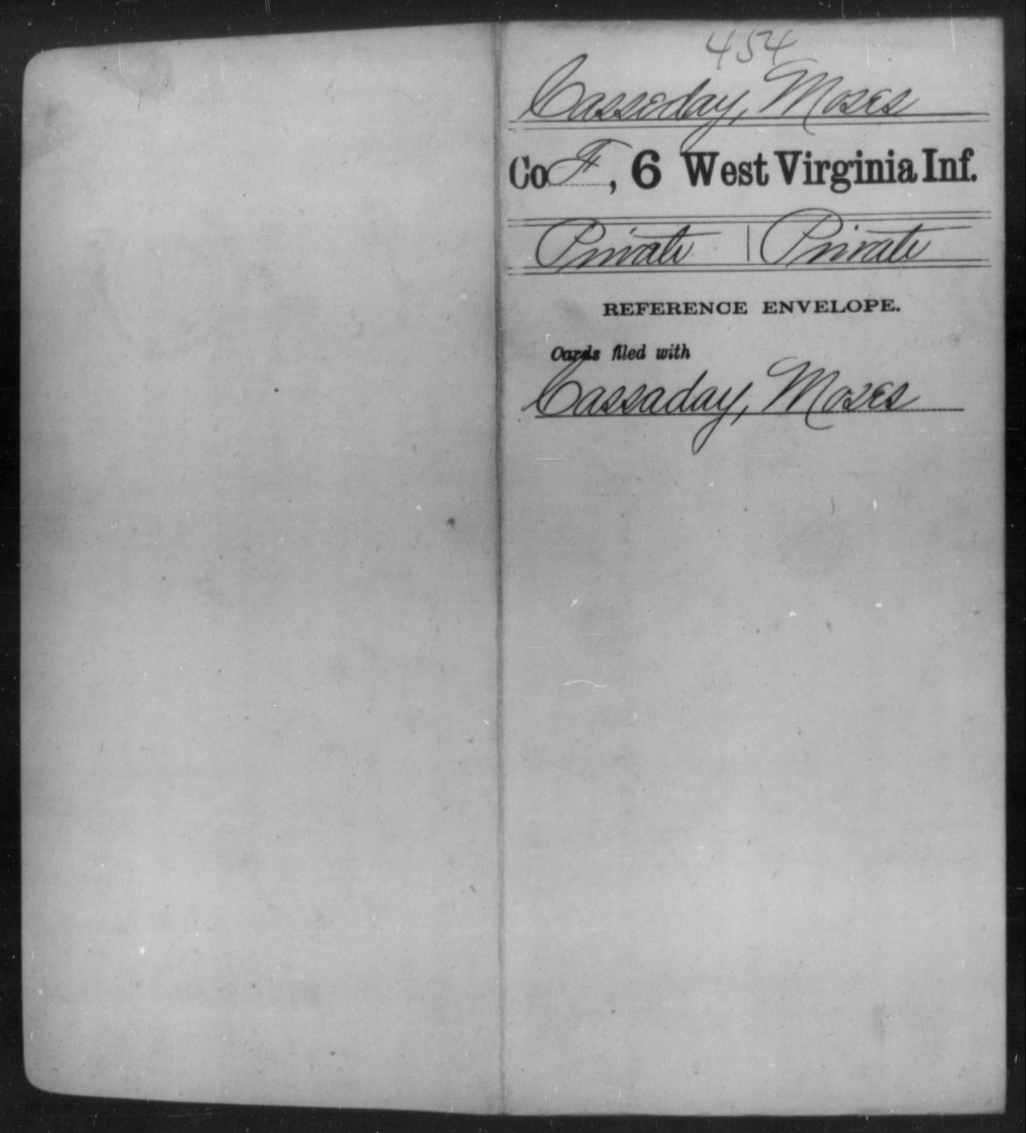 Casseday, Moses - Age [Blank], Year: [Blank] - Sixth Infantry - West Virginia
