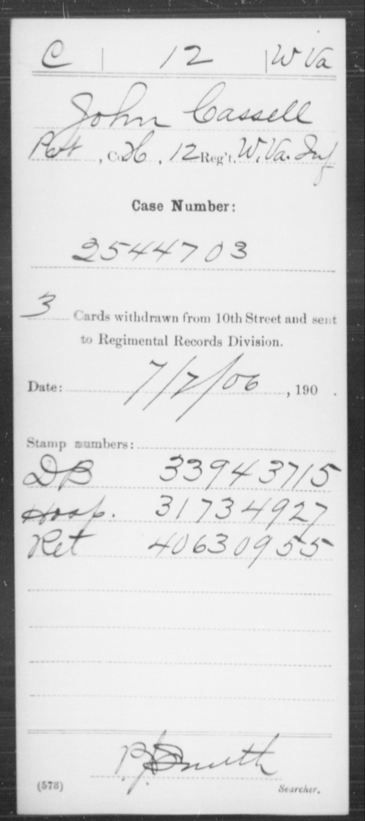 Cassell, John - Age [Blank], Year: [Blank] - Miscellaneous Card Abstracts of Records - West Virginia