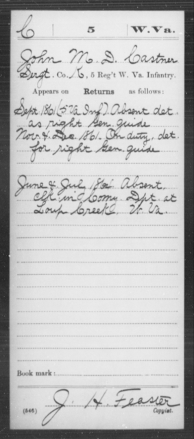 Castner, John M D - Age [Blank], Year: 1861 - Miscellaneous Card Abstracts of Records - West Virginia