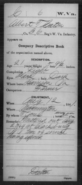 Caton, Albert T - Age 21, Year: 1861 - Miscellaneous Card Abstracts of Records - West Virginia