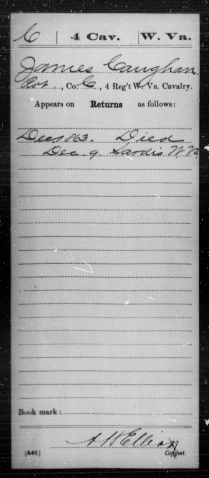 Caughan, James - Age [Blank], Year: 1863 - Miscellaneous Card Abstracts of Records - West Virginia
