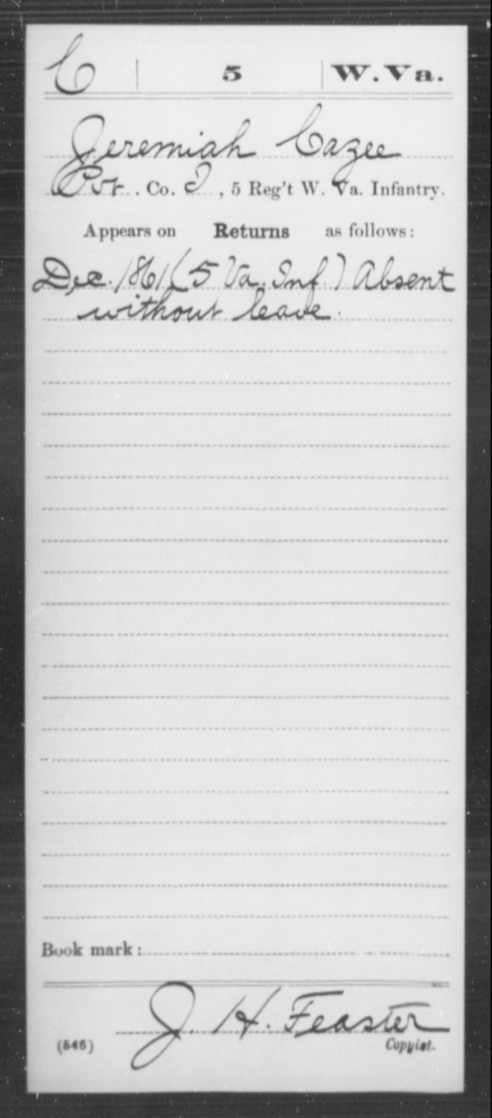 Cazee, Jeremiah - Age [Blank], Year: 1861 - Miscellaneous Card Abstracts of Records - West Virginia