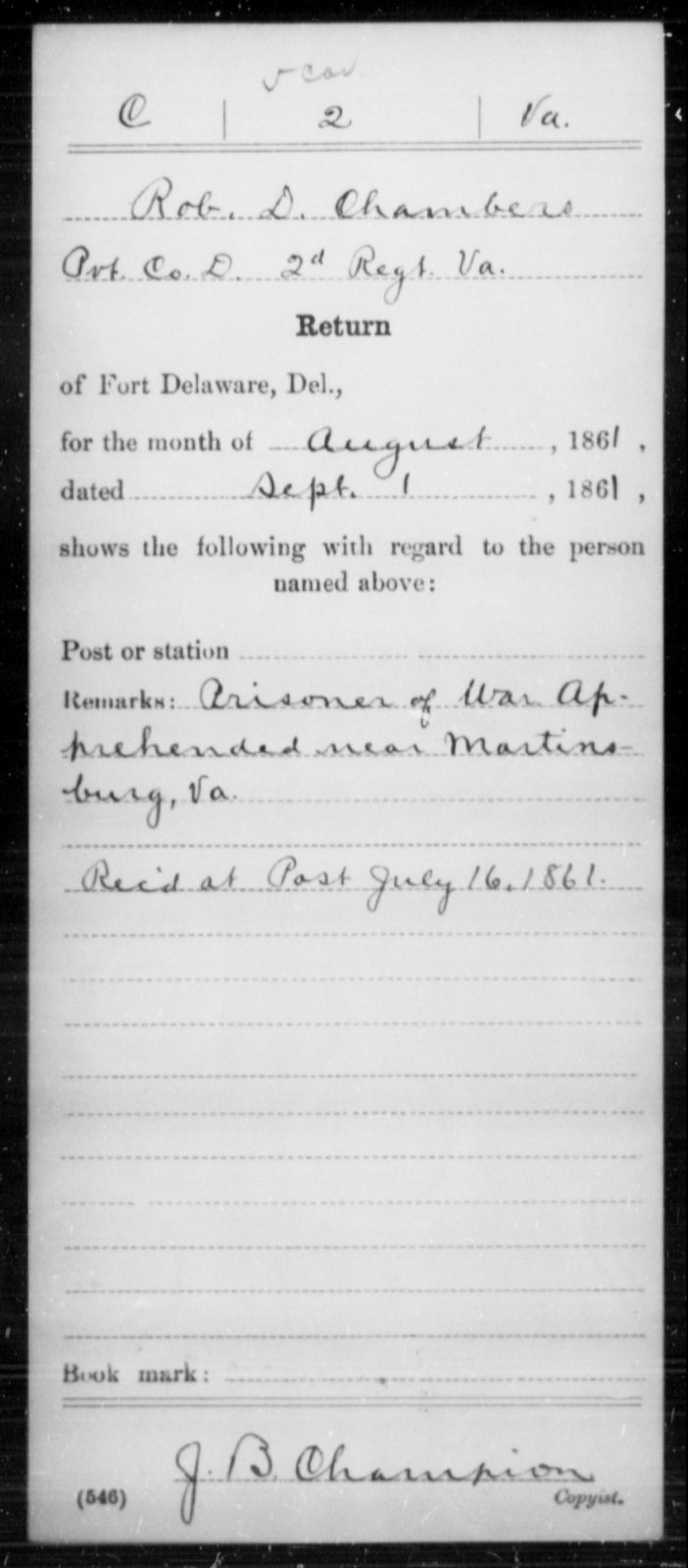 Chambers, Rob D - Age [Blank], Year: 1861 - Miscellaneous Card Abstracts of Records - West Virginia