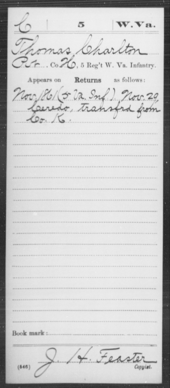 Charlton, Thomas - Age [Blank], Year: 1861 - Miscellaneous Card Abstracts of Records - West Virginia