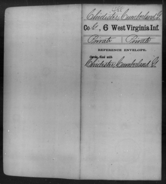 Chidister, Cumberland G - Age [Blank], Year: [Blank] - Sixth Infantry - West Virginia
