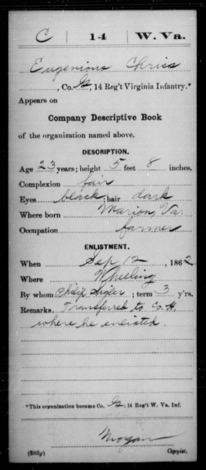 Chriss, Eugenious - Age 23, Year: 1862 - Miscellaneous Card Abstracts of Records - West Virginia