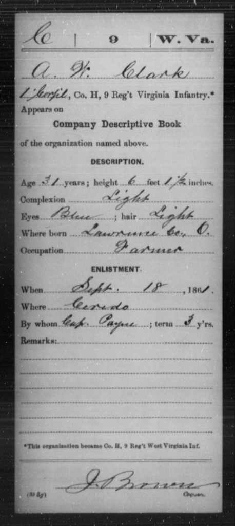 Clark, A W - Age 31, Year: 1861 - Miscellaneous Card Abstracts of Records - West Virginia