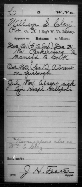Clay, William S - Age [Blank], Year: 1861 - Miscellaneous Card Abstracts of Records - West Virginia