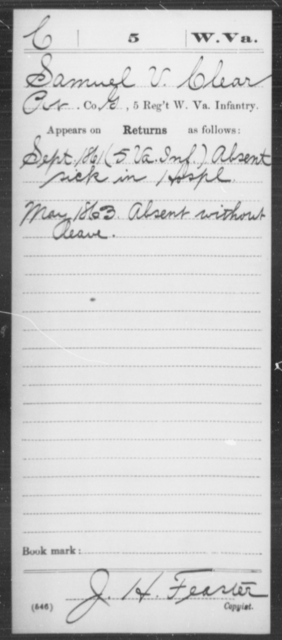 Clear, Samuel V - Age [Blank], Year: 1861 - Miscellaneous Card Abstracts of Records - West Virginia
