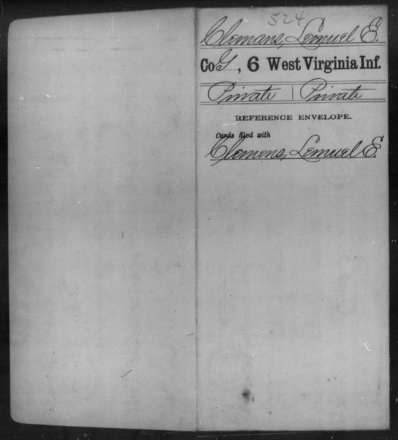 Clemans, Lemuel E - Age [Blank], Year: [Blank] - Sixth Infantry - West Virginia