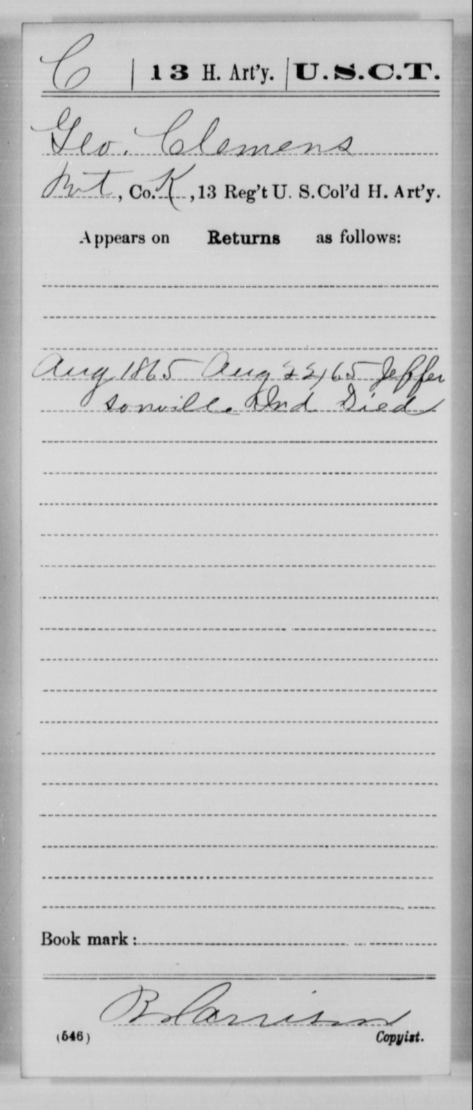 Clemens, Geo - Age [Blank], Year: 1865 - 13th US Colored Heavy Artillery, Misc Cards - United States Colored Troops: Artillery Organizations