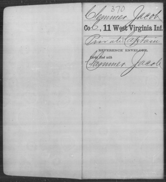 Clemmer, Jacob - Age [Blank], Year: [Blank] - Eleventh Infantry - West Virginia