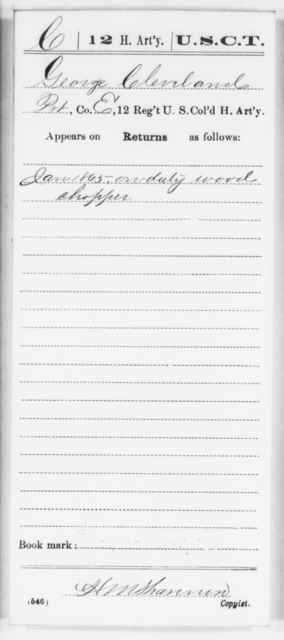 Cleveland, George - Age [Blank], Year: 1865 - 12th US Colored Heavy Artillery, Wo-Y AND Misc Cards, B-H - United States Colored Troops: Artillery Organizations