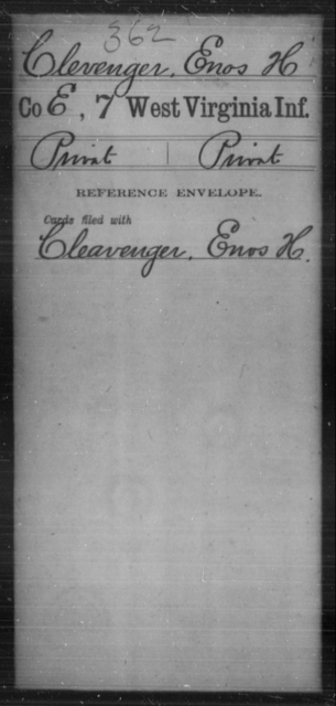 Clevenger, Enos H - Age [Blank], Year: [Blank] - Seventh Infantry - West Virginia