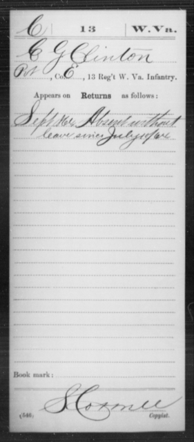 Clinton, C G - Age [Blank], Year: 1864 - Miscellaneous Card Abstracts of Records - West Virginia