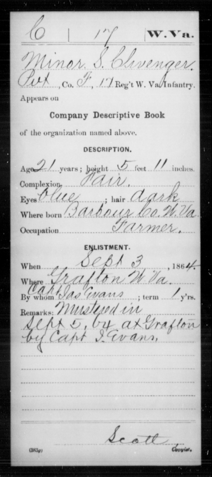 Clivenger, Minor S - Age 21, Year: 1864 - Miscellaneous Card Abstracts of Records - West Virginia