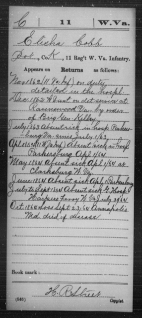 Cobb, Elisha - Age [Blank], Year: 1862 - Miscellaneous Card Abstracts of Records - West Virginia