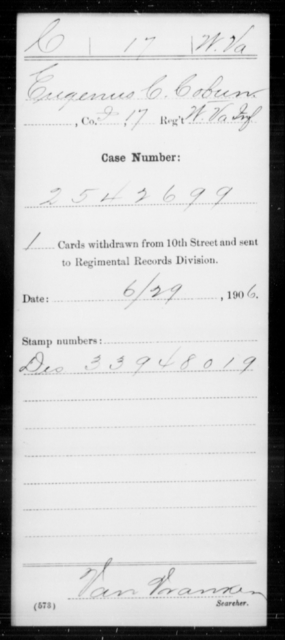 Cobun, Eugenus C - Age [Blank], Year: [Blank] - Miscellaneous Card Abstracts of Records - West Virginia