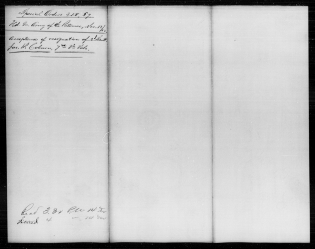 Cobun, Jas R - Age [Blank], Year: 1862 - Personal Papers Arranged by Organizations - West Virginia