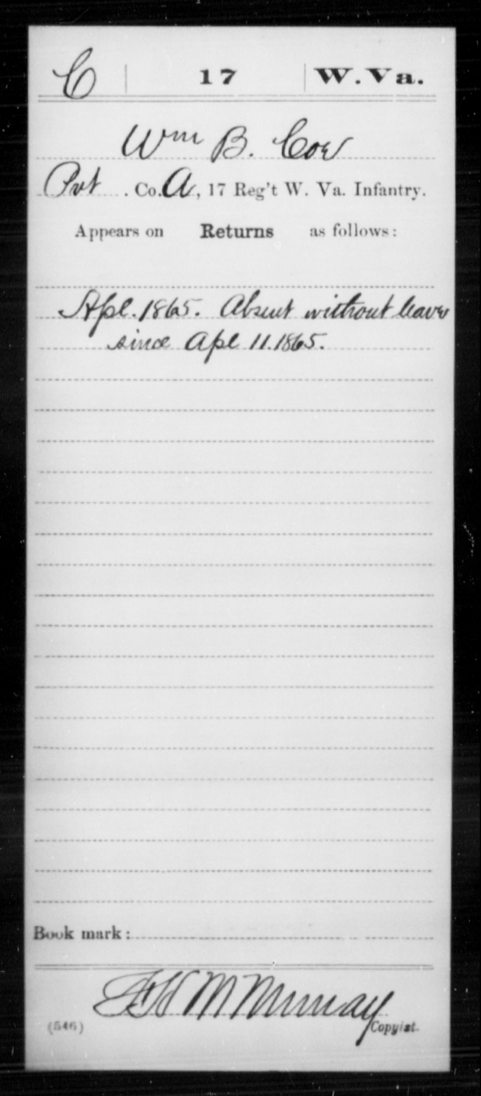 Coe, Wm B - Age [Blank], Year: 1865 - Miscellaneous Card Abstracts of Records - West Virginia