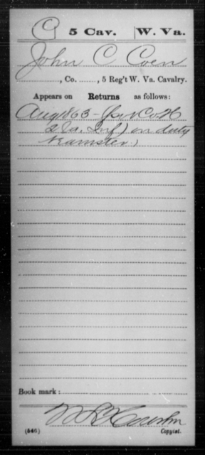 Coen, John C - Age [Blank], Year: 1863 - Miscellaneous Card Abstracts of Records - West Virginia