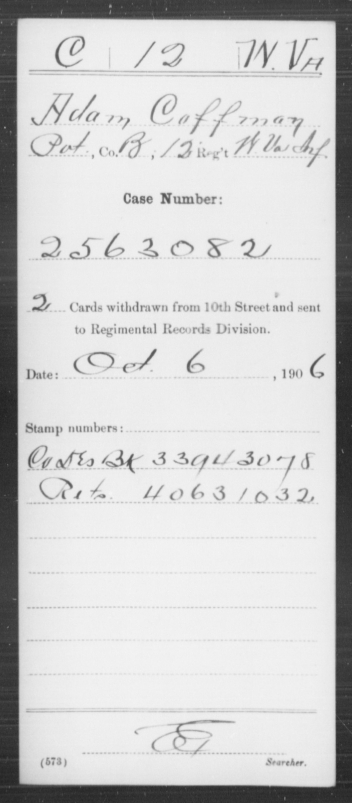 Coffman, Adam - Age [Blank], Year: [Blank] - Miscellaneous Card Abstracts of Records - West Virginia