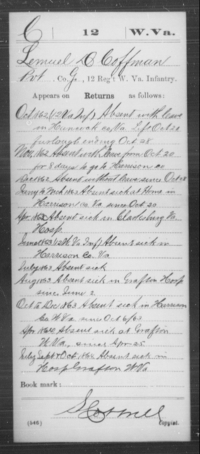 Coffman, Lemuel D - Age [Blank], Year: 1862 - Miscellaneous Card Abstracts of Records - West Virginia