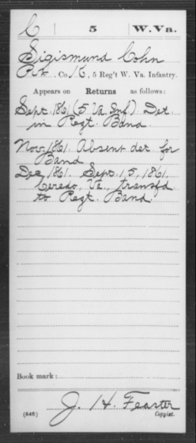 Cohn, Sigismund - Age [Blank], Year: 1861 - Miscellaneous Card Abstracts of Records - West Virginia