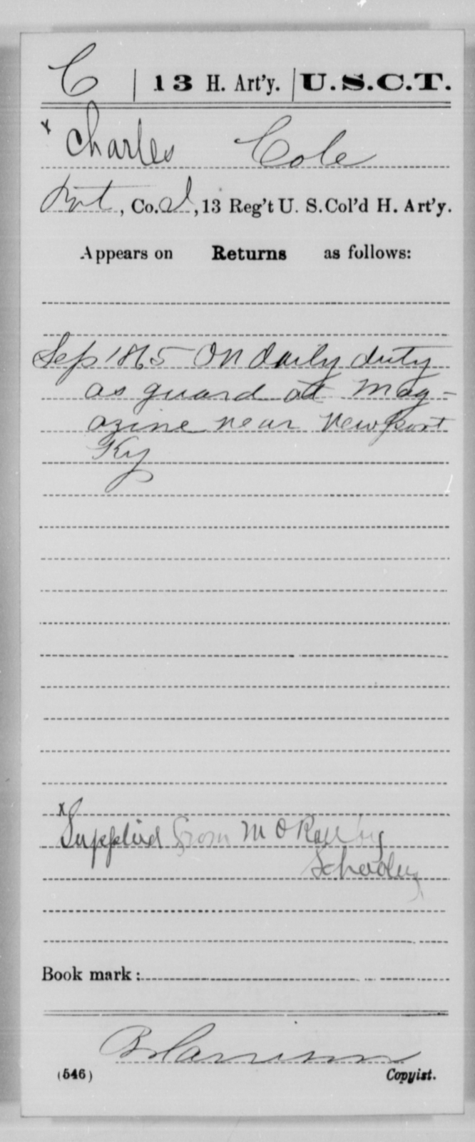 Cole, Charles - Age [Blank], Year: 1865 - 13th US Colored Heavy Artillery, Misc Cards - United States Colored Troops: Artillery Organizations