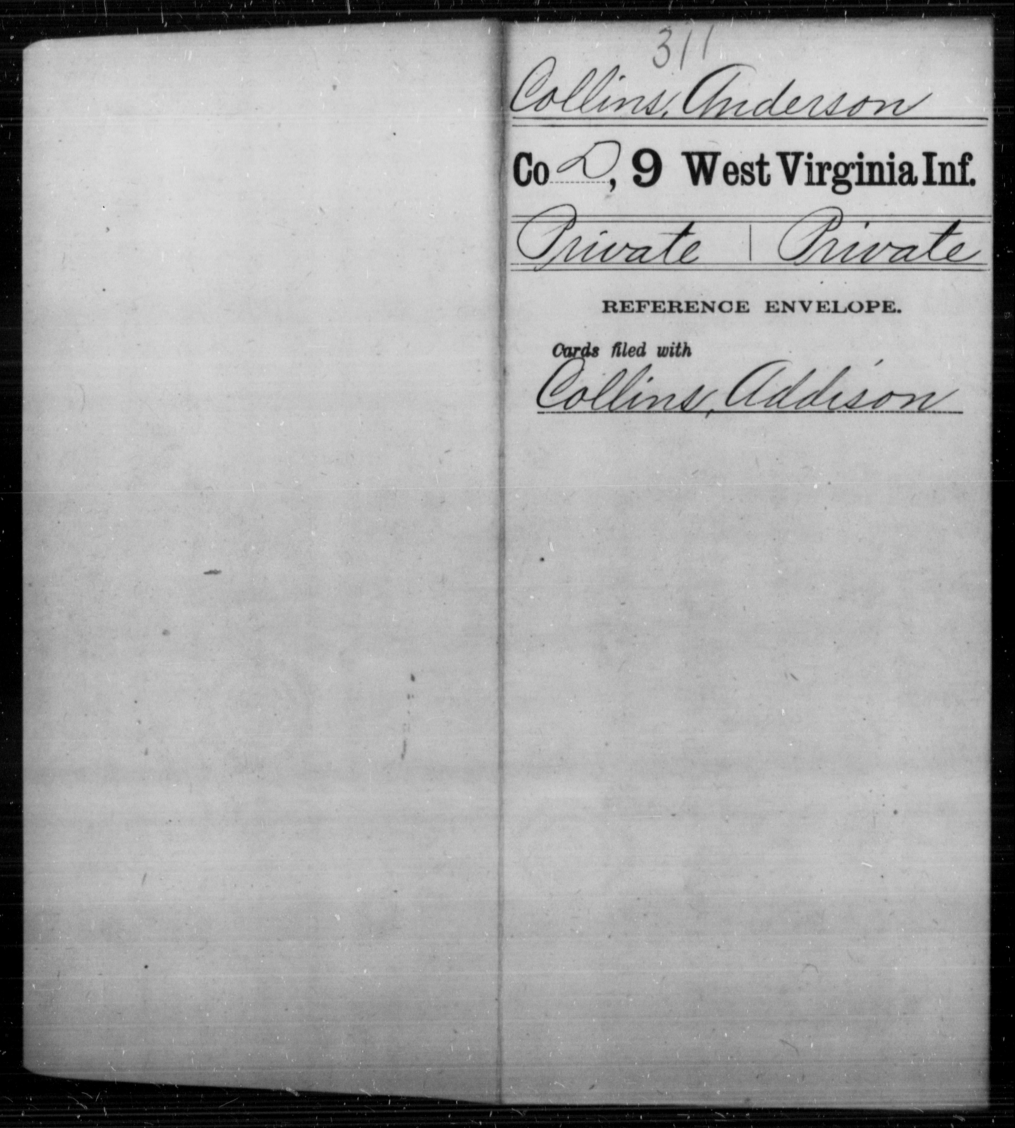 Collins, Anderson - Age [Blank], Year: [Blank] - Ninth Infantry - West Virginia