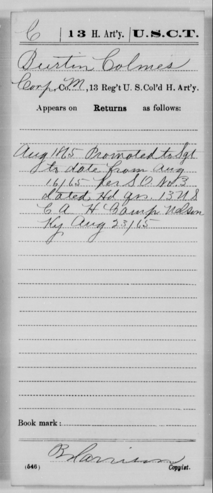 Colmes, Burtin - Age [Blank], Year: 1865 - 13th US Colored Heavy Artillery, Misc Cards - United States Colored Troops: Artillery Organizations