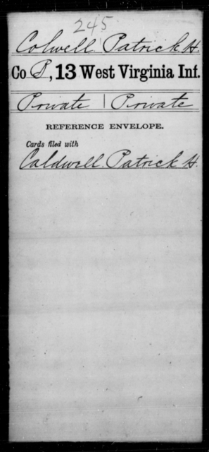 Colwell, Patrick H - Age [Blank], Year: [Blank] - Thirteenth Infantry, A-W - West Virginia