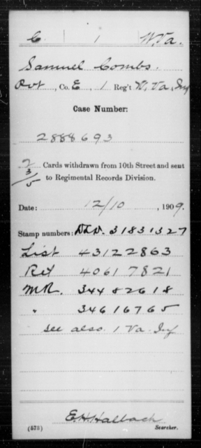 Combs, Samuel - Age [Blank], Year: [Blank] - Miscellaneous Card Abstracts of Records - West Virginia