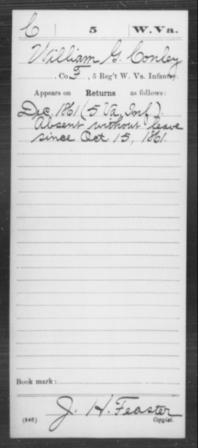Conley, William G - Age [Blank], Year: 1861 - Miscellaneous Card Abstracts of Records - West Virginia