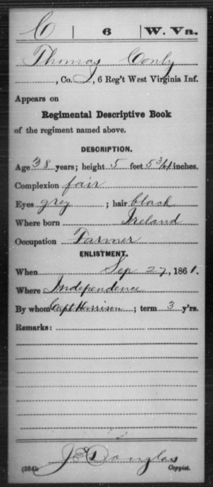 Conly, Thomas - Age 38, Year: 1861 - Miscellaneous Card Abstracts of Records - West Virginia