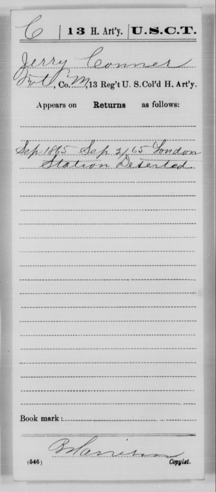 Conner, Jerry - Age [Blank], Year: 1865 - 13th US Colored Heavy Artillery, Misc Cards - United States Colored Troops: Artillery Organizations
