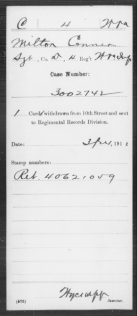 Conner, Milton - Age [Blank], Year: [Blank] - Miscellaneous Card Abstracts of Records - West Virginia