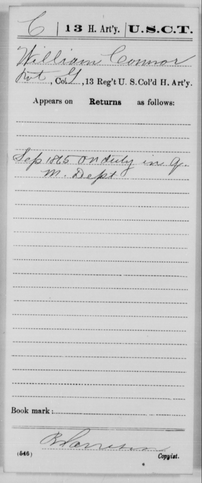 Connor, Jerry - Age [Blank], Year: 1865 - 13th US Colored Heavy Artillery, Misc Cards - United States Colored Troops: Artillery Organizations