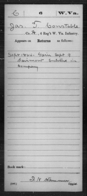 Constable, Jas T - Age [Blank], Year: 1864 - Miscellaneous Card Abstracts of Records - West Virginia