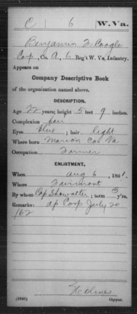 Coogle, Benjamin F - Age 22, Year: 1861 - Miscellaneous Card Abstracts of Records - West Virginia
