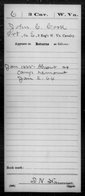 Cook, John C - Age [Blank], Year: 1865 - Miscellaneous Card Abstracts of Records - West Virginia