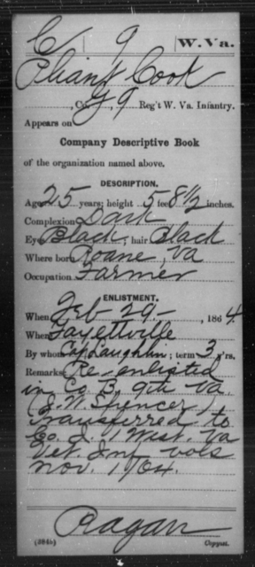 Cook, Pliant - Age 25, Year: 1864 - Miscellaneous Card Abstracts of Records - West Virginia