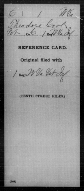 Cook, Theodore - Age [Blank], Year: [Blank] - Miscellaneous Card Abstracts of Records - West Virginia