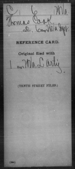 Cook, Thomas - Age [Blank], Year: [Blank] - Miscellaneous Card Abstracts of Records - West Virginia