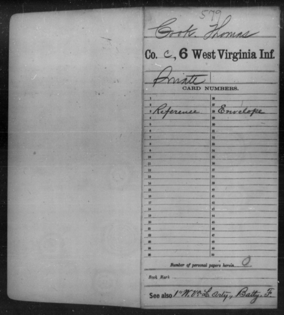 Cook, Thomas - Age [Blank], Year: [Blank] - Sixth Infantry - West Virginia