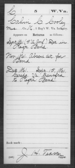 Cooley, Calvin C - Age [Blank], Year: 1861 - Miscellaneous Card Abstracts of Records - West Virginia