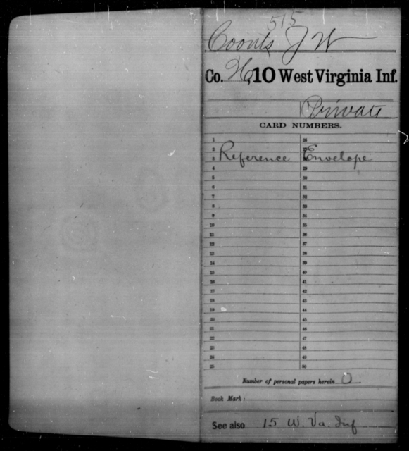 Coonts, J W - Age [Blank], Year: [Blank] - Tenth Infantry - West Virginia